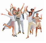 Portrait of happy business people jumping against white backgrou